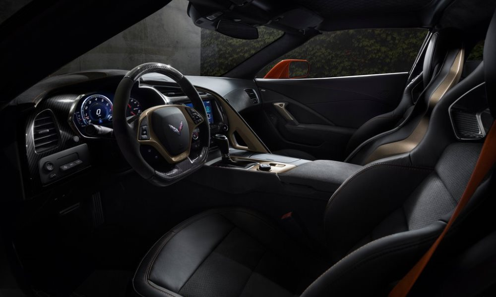 Leather buckets seats and a special steering wheel are some of the additions to the cabin.