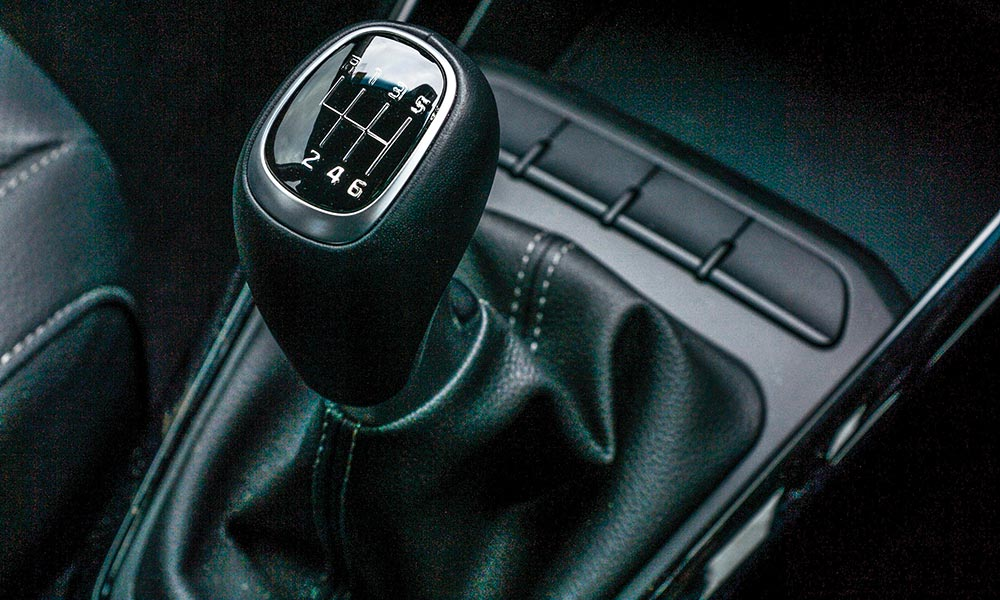 Leather trim extends to the gear-lever gait.