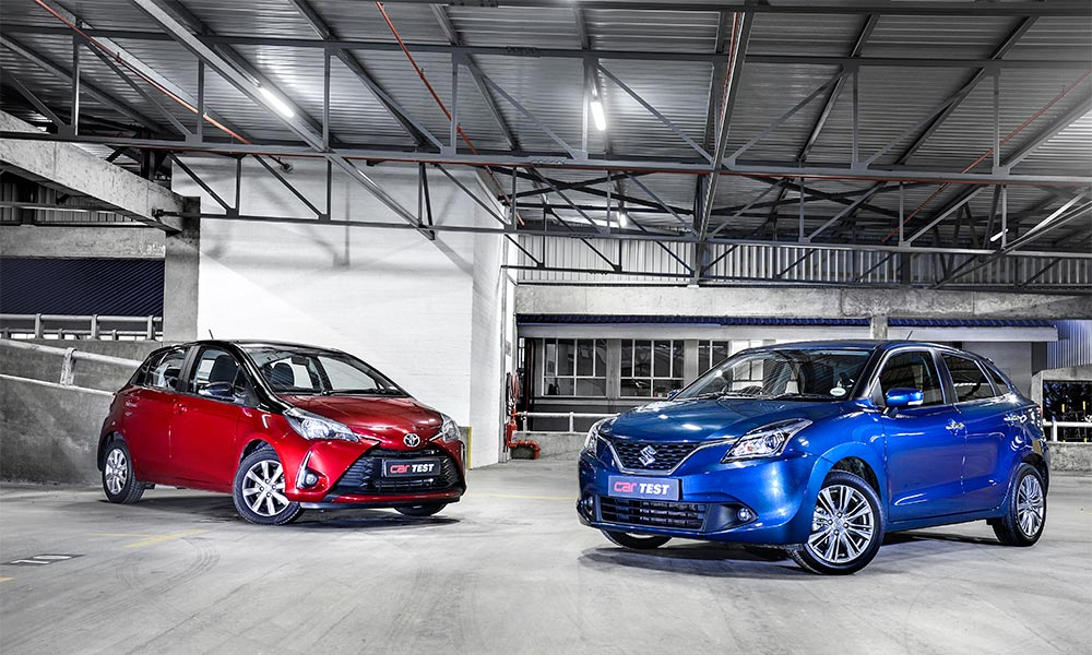 The Yaris features optional two-tone paintwork, while the Baleno comes with larger (16-inch) alloys.