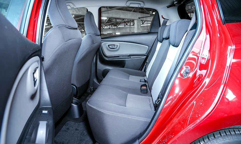 Rear seating in the Toyota is comfortable and legroom adequate.