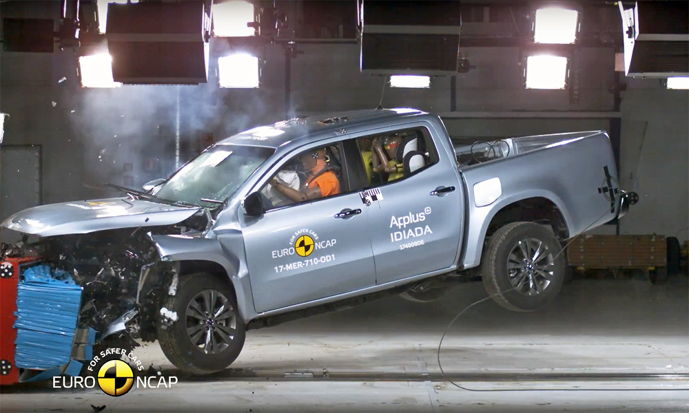 watch mercedes benz x class undergo crash test car magazine