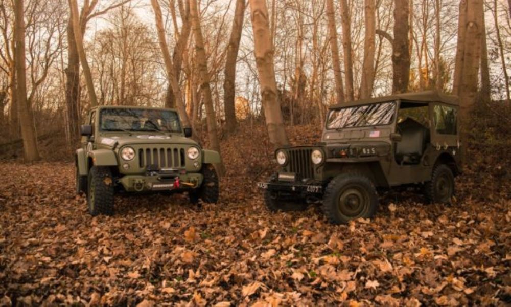 The custom Wrangler and its muse.