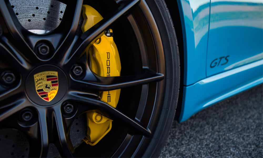 20-inch Carrera S alloy wheels are finished in black. Carbon brakes are optional.