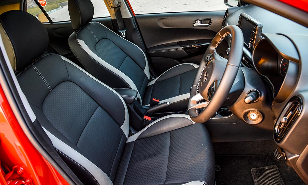 Leather seats add to the premium feel.
