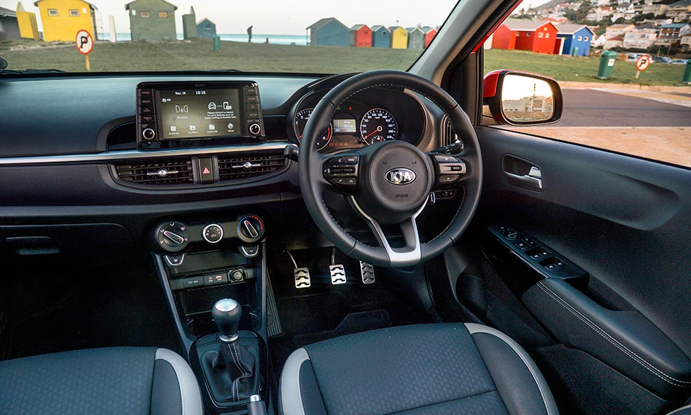 Smart model boasts a touchscreen infotainment system and leather-clad steering wheel.