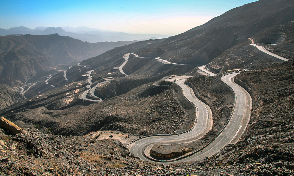 The twists and turns of the Jebel Jais pass.