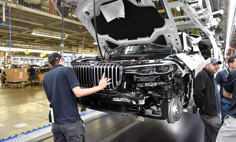 BMW has revealed a handful of images of its X7 going into pre-production.