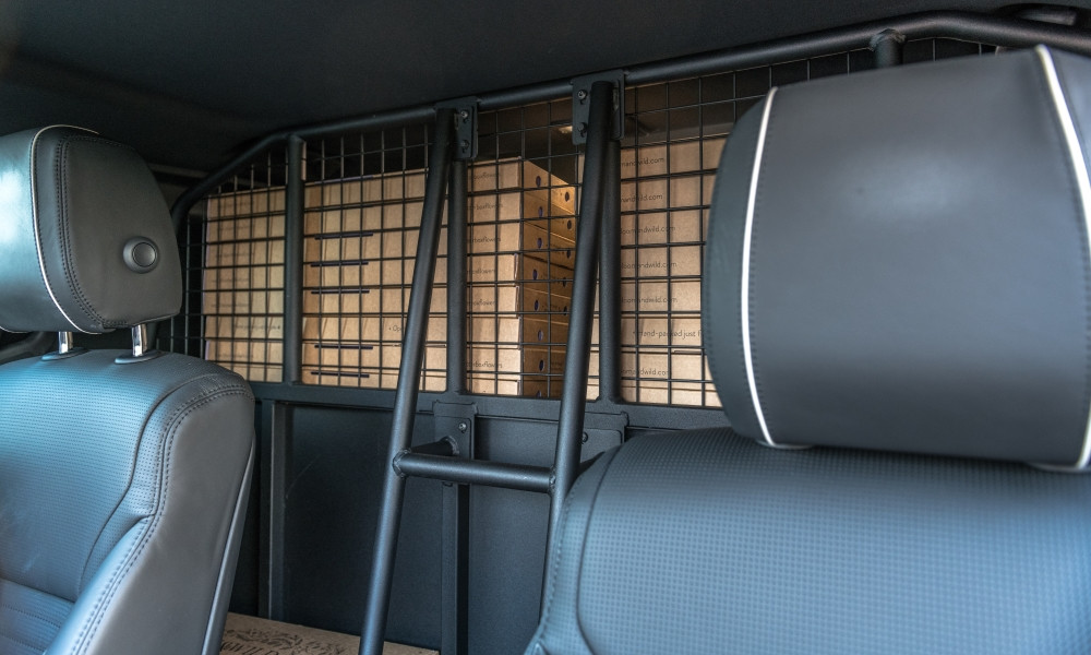 Partitioning behind the rear seats is present and correct.