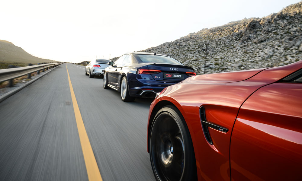 RS5 leads the pack off the line, but the M4 is not far behind; the C63 is slightly hampered on take-off by its raw power.