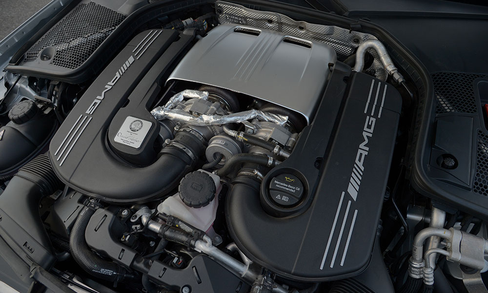 Marvellous twin-turbo V8 in the AMG is a snarling beast that sometimes overwhelms.