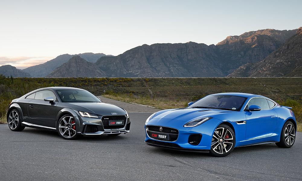 Matte-aluminium trim optional on TT RS, while F-Type boasts various gloss-black elements as part of R-Dynamic specification.