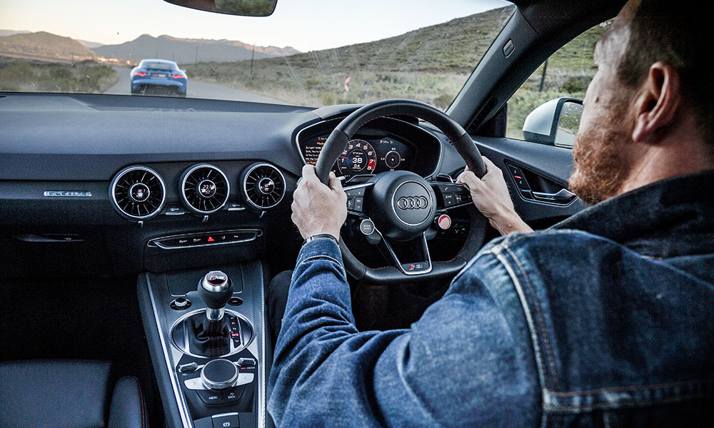 R8-style steering wheel is a highlight of the driver-focused cockpit of the Audi.