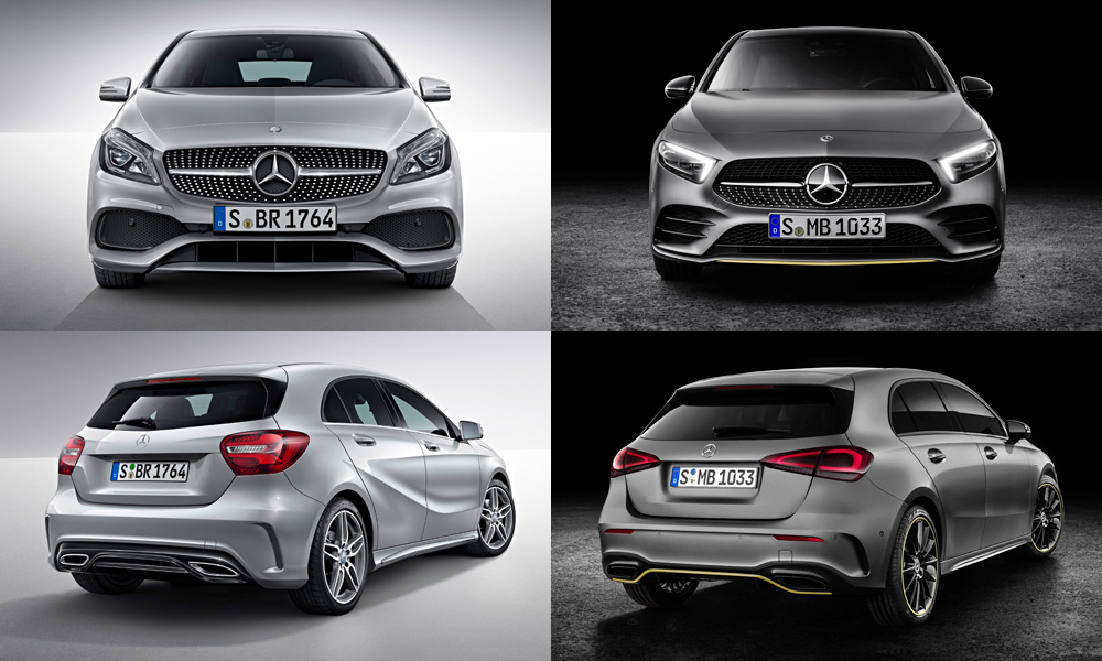mercedes benz a class new w177 vs old w176 car. Black Bedroom Furniture Sets. Home Design Ideas