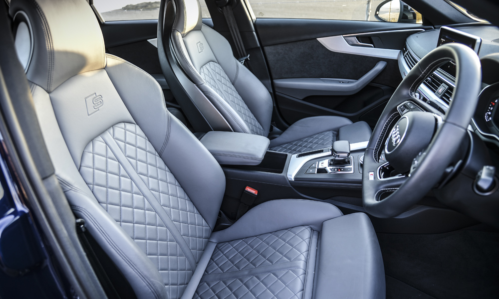 Diamond-pattern seats are comfortable and supportive.