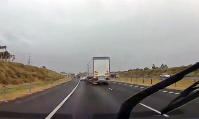 Truck switches lanes into Mazda2