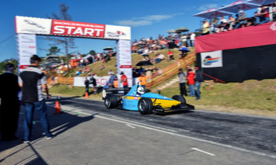 Andre Bezuidenhout in his Gould GR55 single-seater took top honours at the 2018 Jaguar Simola Hillclimb.