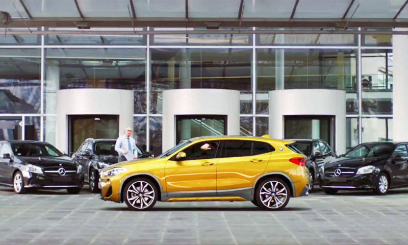 A still image from the BMW advert taking a swipe at Mercedes-Benz.