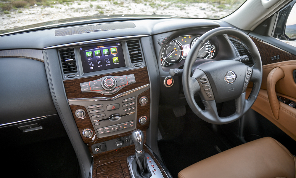 Eight-inch touchscreen adds a modern touch to otherwise old-school facia.