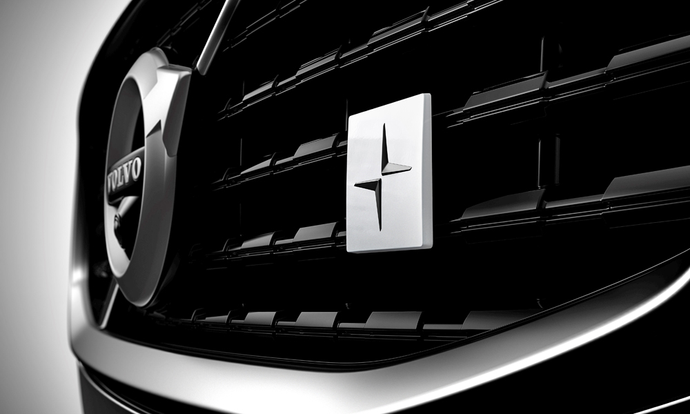 The new Polestar badge on the upcoming S60's grille.