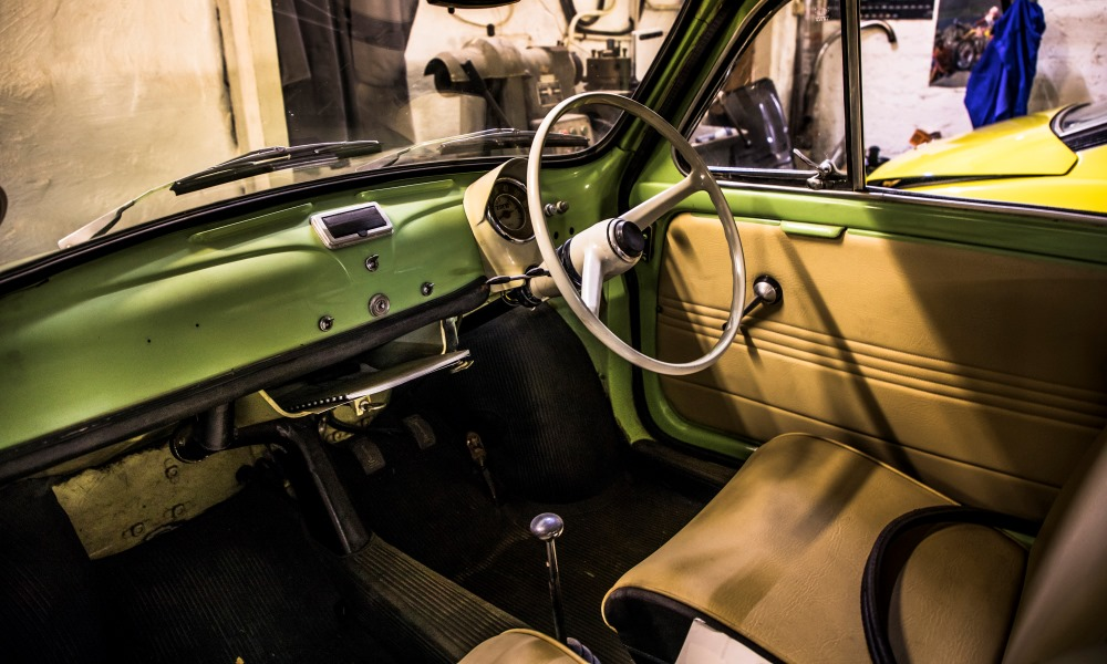The cabin of a 1962 Fiat 500 station wagon.