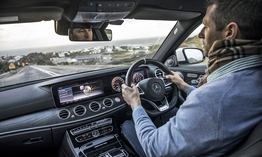 The Mercedes-AMG's cabin is a blend of modern functionality with traditional sophistication.