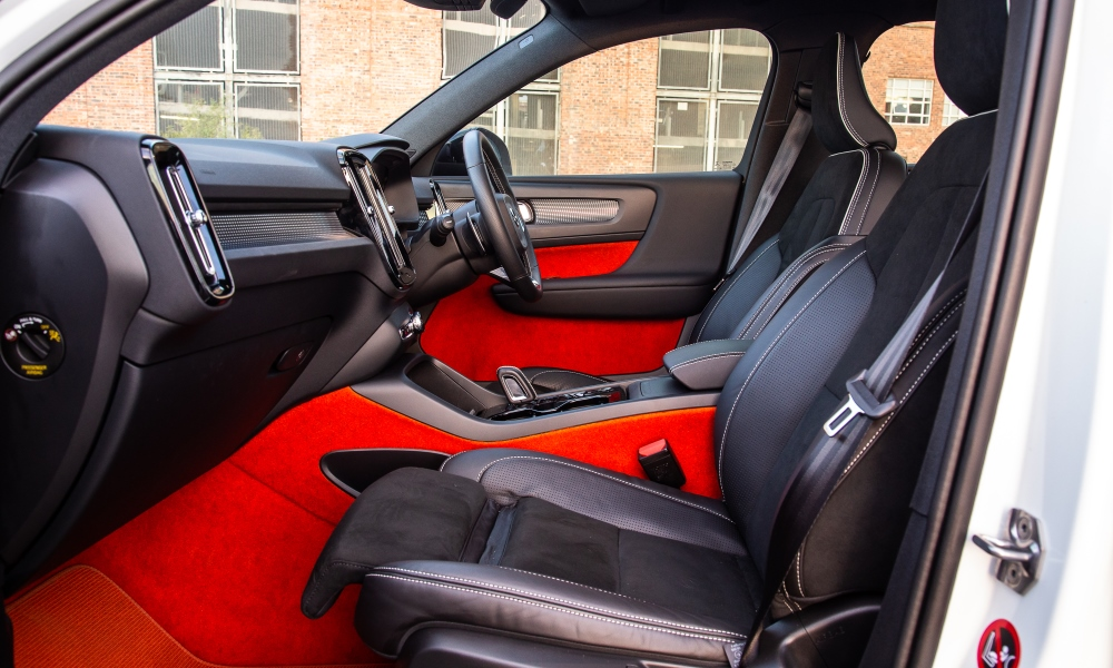 Bold lava-red trim is one of many colour options.