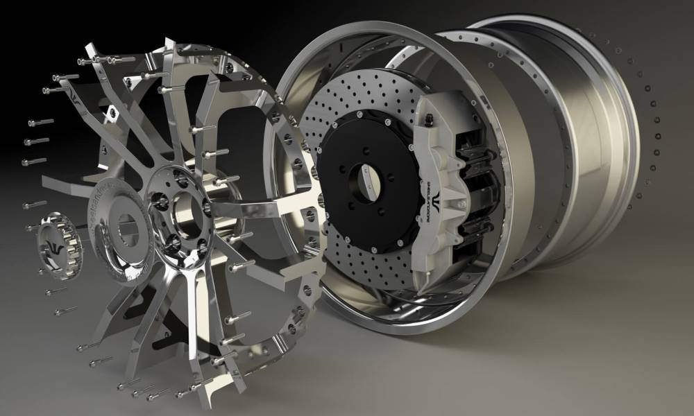 The design of the three-piece forged alloy wheel.
