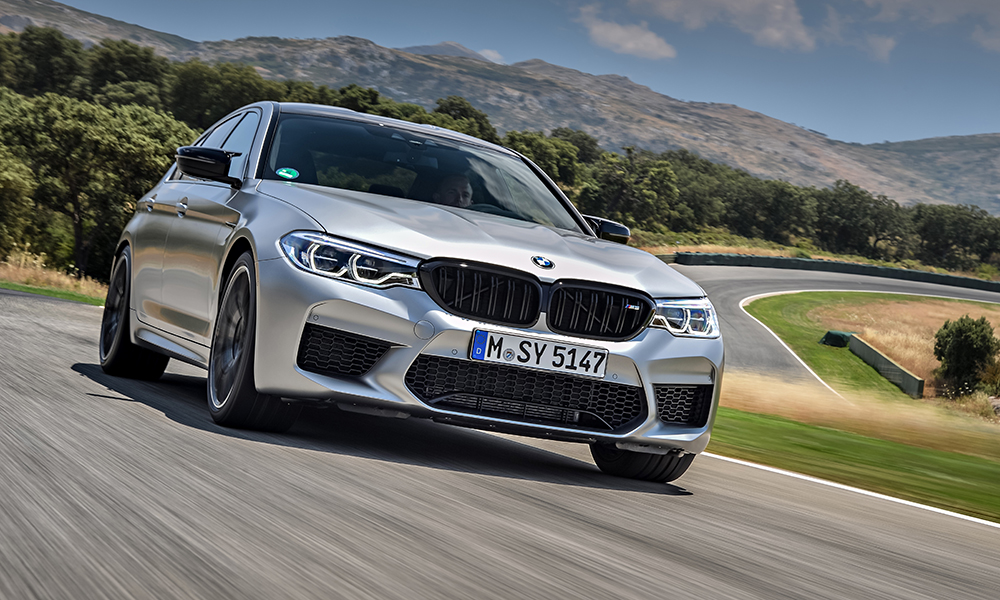 The new BMW M5 Competition boasts a Shadow Line kit with gloss-black trim around the kidney grilles.