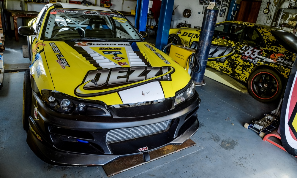 Shane's, Desmond's son, Nissan S15 Silvia drift car, featuring a tuned SR20 2,0-litre turbo delivering 450 kW.
