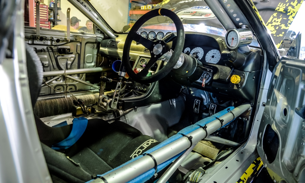 The stripped-out cabin of the 1991 R32 hillclimb car.