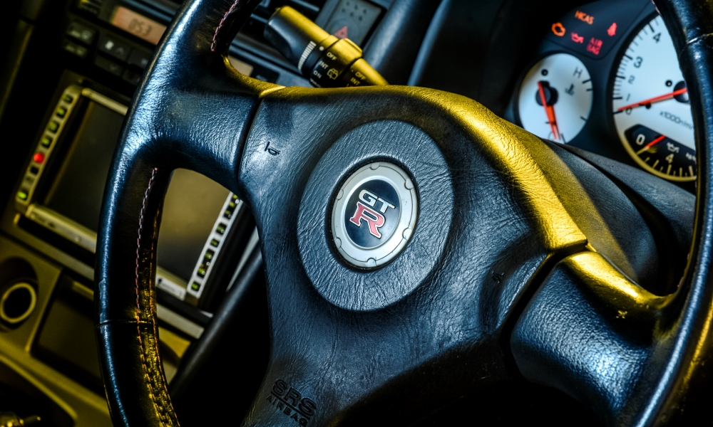 The steering wheel of the 2001 R34 GT-R.