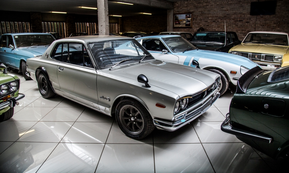 The star of the collection, a first-generation 1971 Nissan GT-R...