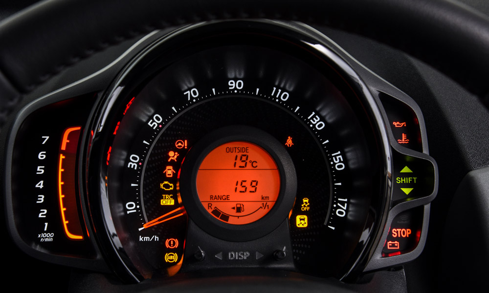 The instrument cluster.