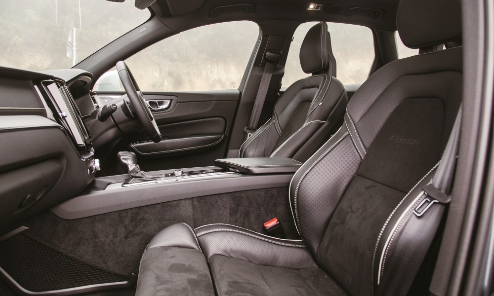 Contoured leather seats part of R-Design spec.