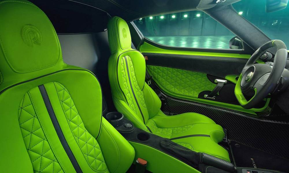 The seats have been reupholstered with Lamborghini leather.
