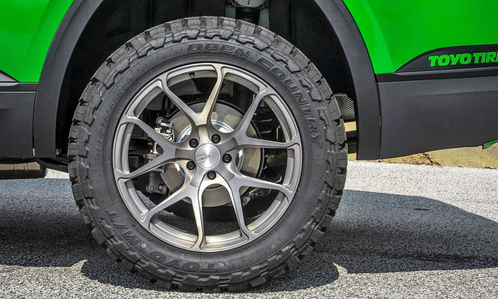 New lightweight wheels boast Toyo Open Country rubber.
