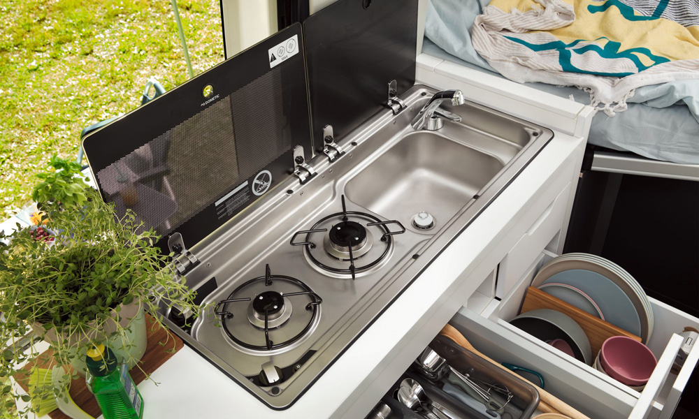 A gas cooker and sink come standard.