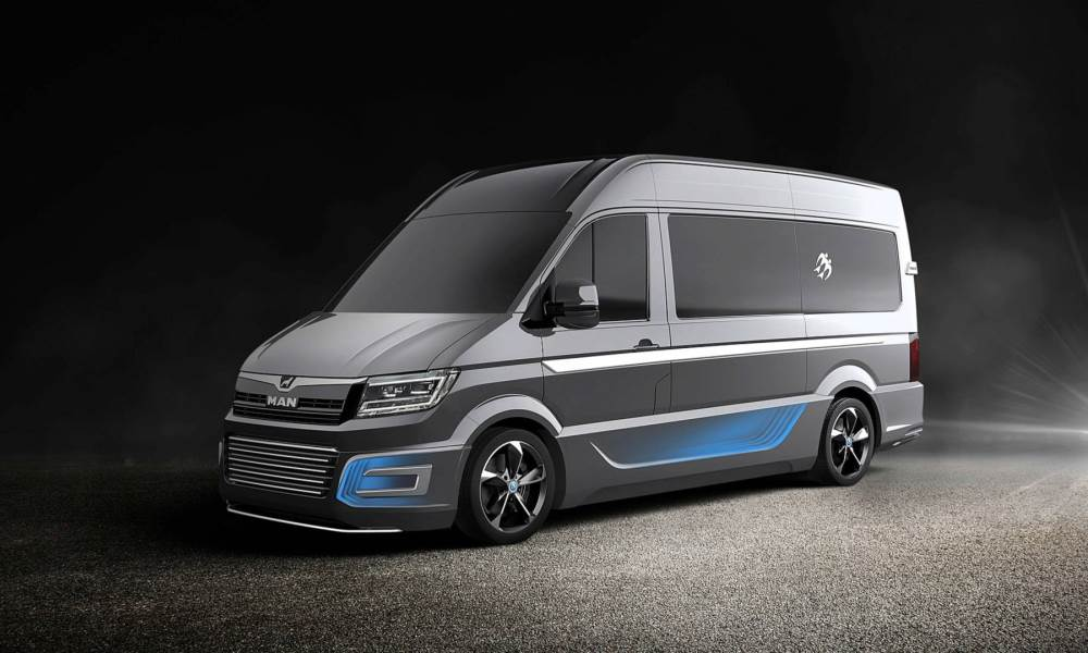 Based on the MAN TGE, this camper sits on a set of bold 22-inch rims.