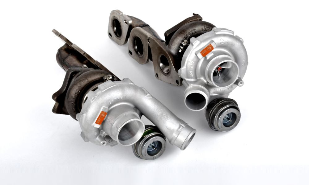 Two Garret turbochargers help increase the output.