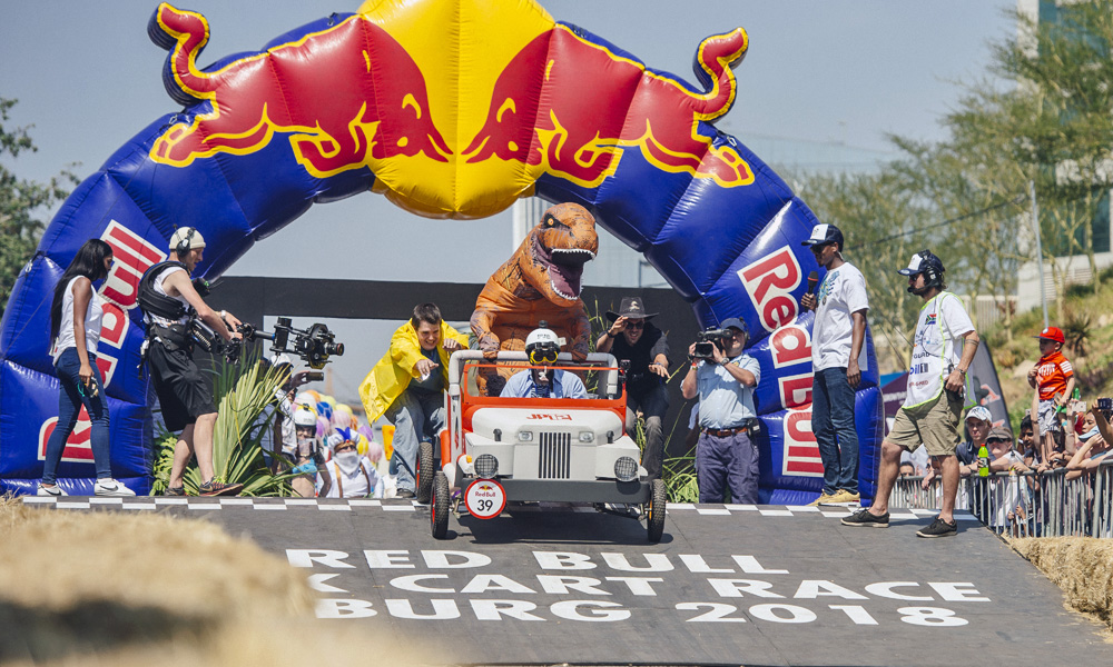 And they're off! Inspired by Jurassic Park, team Veloci-Wrangler (and its mascot, Red-Rexi) launches from the starting line.  Photo: TyroneBradley/Red Bull Content Pool