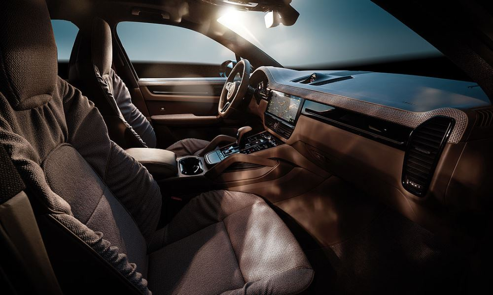 The interior is designed in collaboration with luxury couch maker, Rolf Benz.