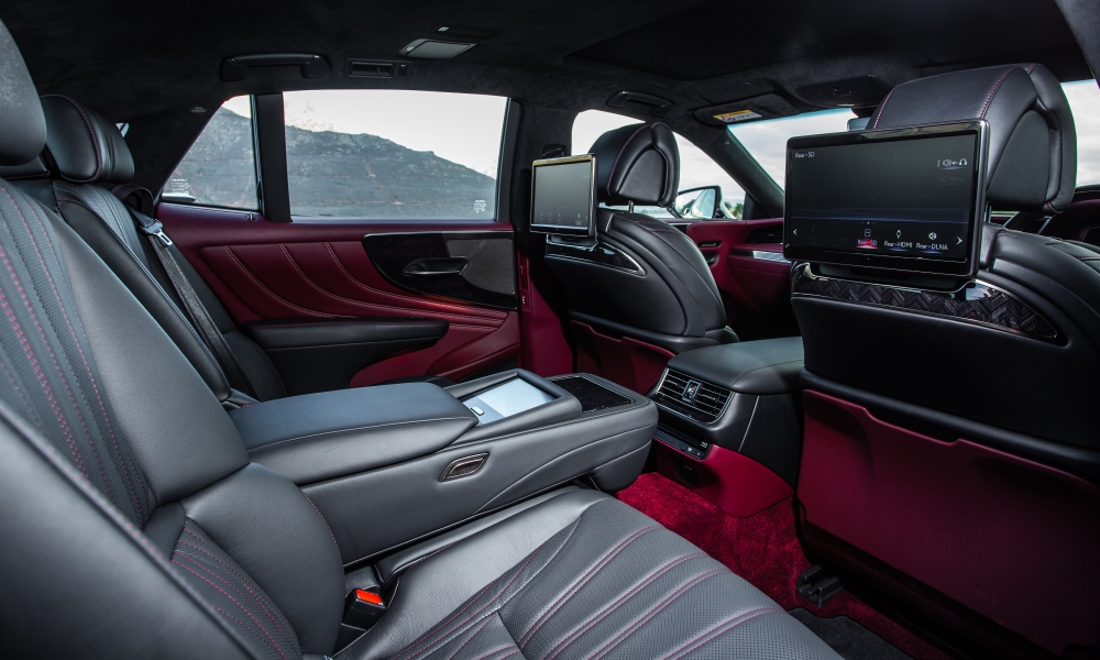 Adjusting the rear seats of the Lexus means delving into the touchscreen pad located in the rear armrest.