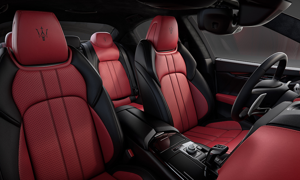 The red and black interior matches the colour scheme of the exterior.