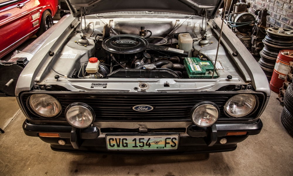 Clean engine of a 1980 Ford Escort 1600 Sport, which Bertus' father originally bought new.
