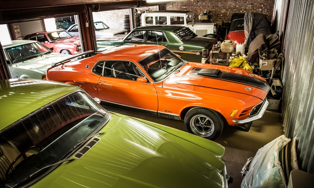 Next door, and more cars, with the 1970 Ford Mustang Mach 1 in the centre.
