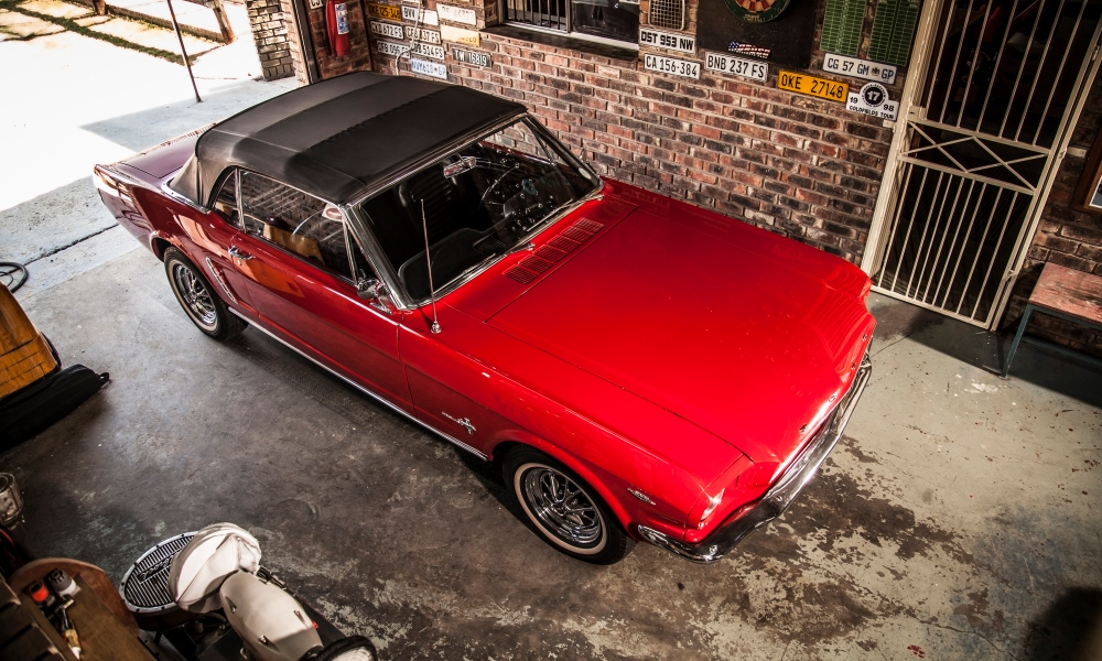 The 1964-and-a-half Ford Mustang Cabriolet with its roof in place.