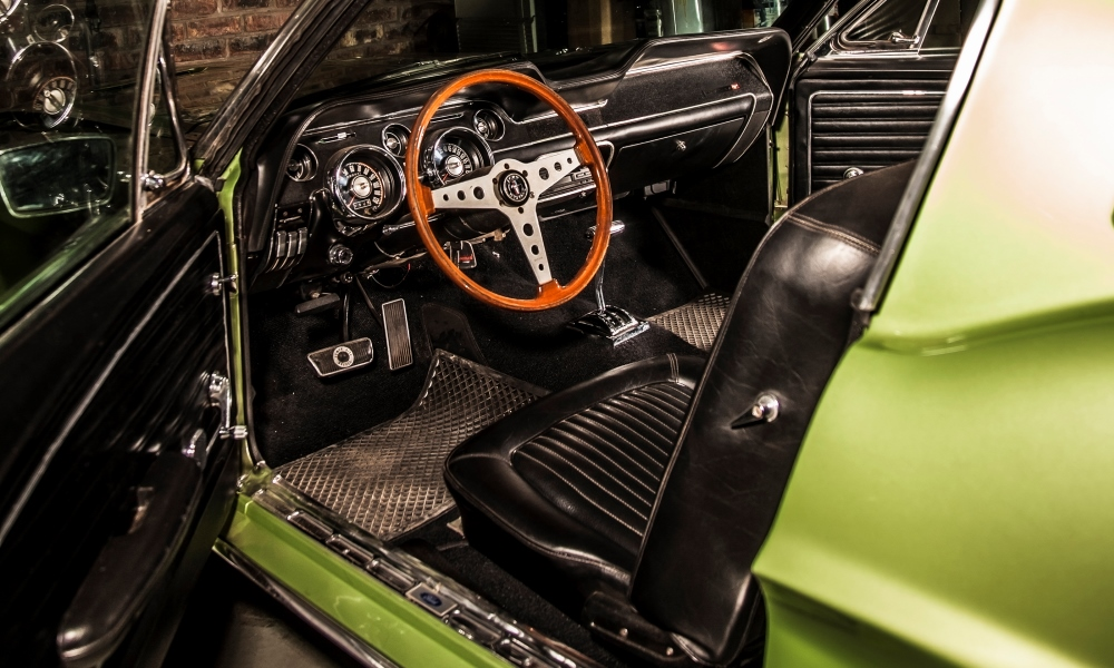 The inviting interior of the 1968 Ford Mustang Fastback.
