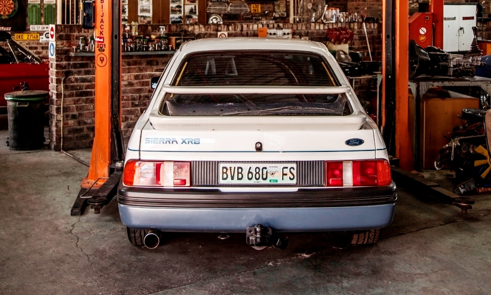 The rear of the 1985 Ford Sierra XR8, number 50 of only 250 built.