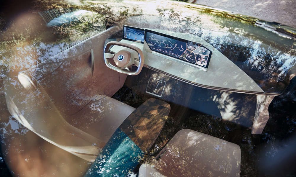 The steering wheel retracts slightly when the vehicle is put in self-driving mode.