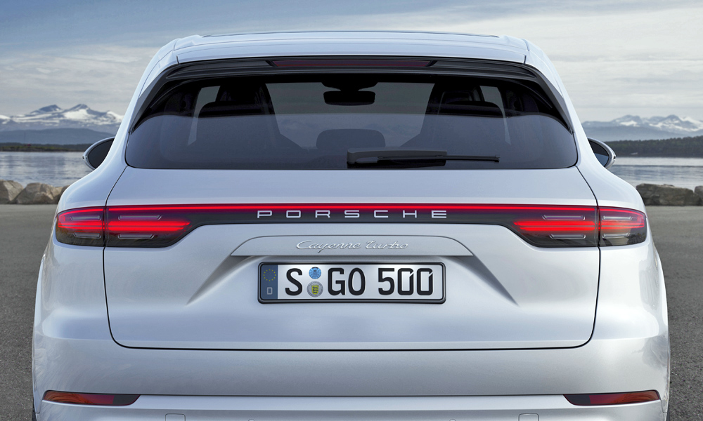 Full-width taillamps lend the Cayenne a distinctive rear lighting signature.